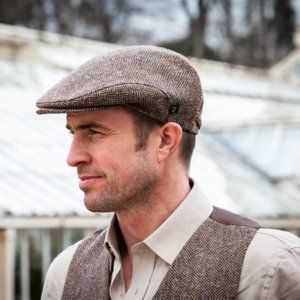 Mens Ireland Wool Tweed Flat Cap Brown Herringbone